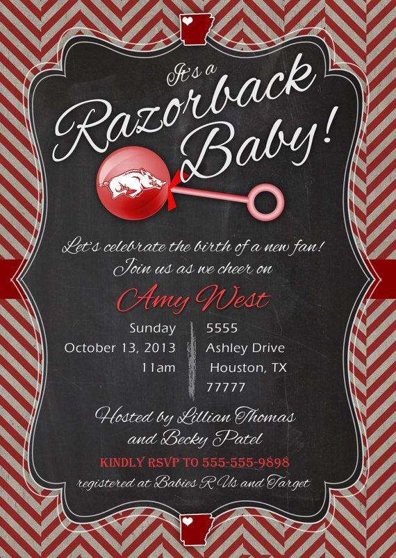 Razorback baby shower invitation printable PDF by MissMurrayDesign