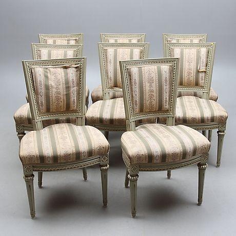 STOLAR, 8 st, gustaviansk stil, 1900-tal. Möbler - Fåtöljer & Stolar – Auctionet