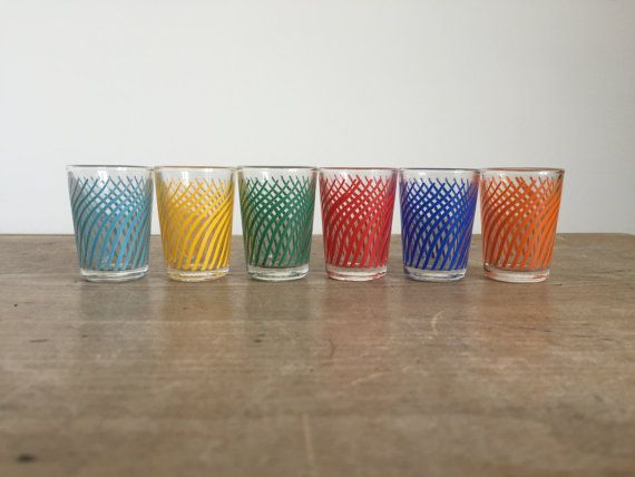 6 x retro shot drinking glasses // 1960s 1970s glasses // multicoloured glass // vintage barware