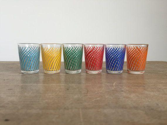 6 x retro shot drinking glasses // 1960s 1970s glasses // multicoloured glass // vintage barware