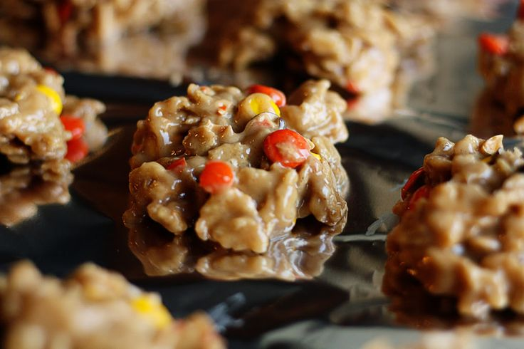 {No Bake Reeces Pieces Drop Cookies}...Heat 1 c clear corn syrup, 1 c sugar, 4 T butter, 1/2 t salt...Boil 1 min. then remove from heat...Stir in 1.5 c creamy peanut butter & 1 t vanilla extract...Mix in 4 c of special k cereal...Mix in 1 c reeces pieces...Drop spoonful on wax paper until set...Store in air tight container