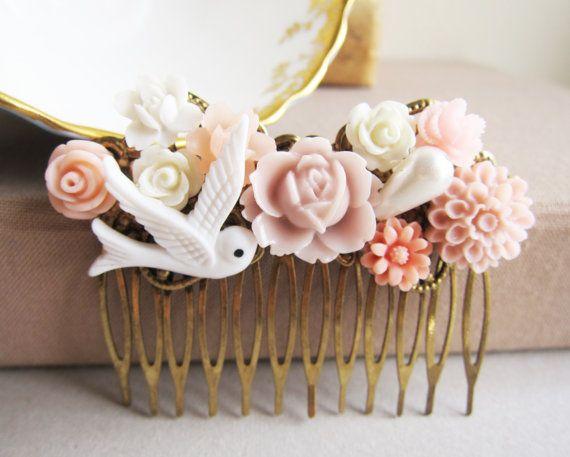 Jewelsalem -- Pastel Pink Wedding Hair Comb Peach Blush Tea Rose Romantic Soft Bridesmaid Gift Bridal Head Piece Flower Floral Bird White Pale Dreamy