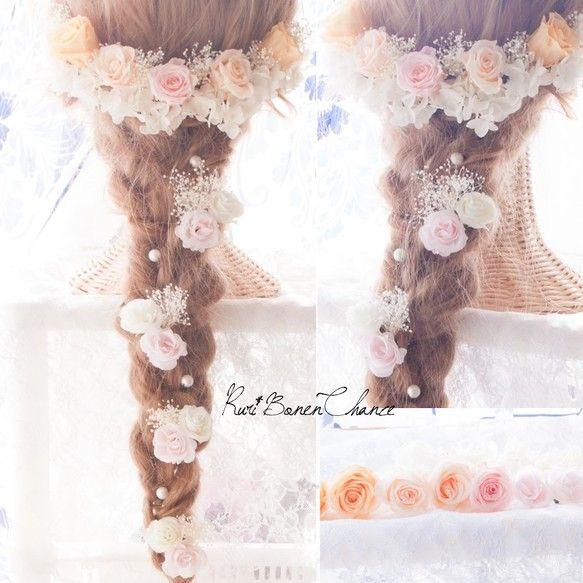 髪飾り パステルカラーローズとかすみ草紫陽花のヘッドドレス パステルカラー ヘッドドレス 髪飾り