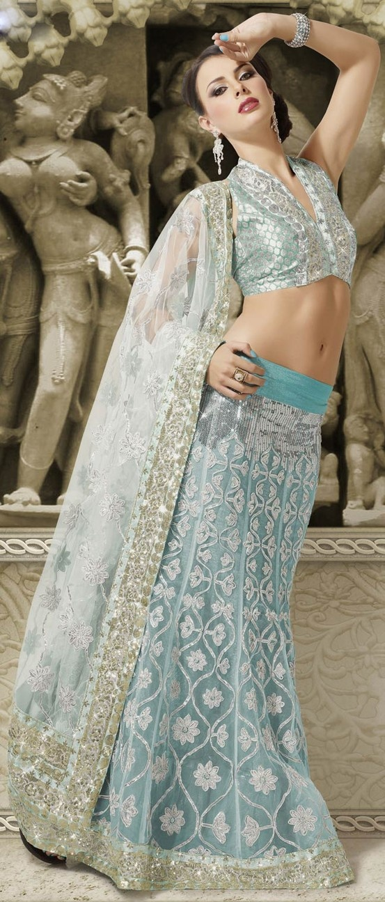 Light Sea #Green Net A-Line #LehengaCholiWithDupatta @ $133.55