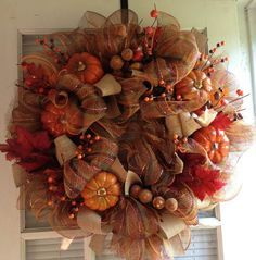 10% off Fall Mesh Wreath with Pumpkins by crossingstems on Etsy