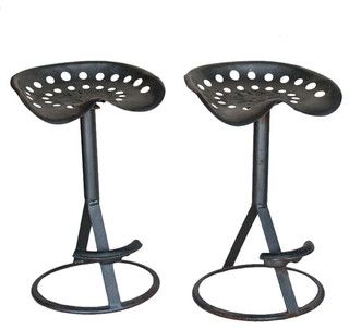 Pair Vintage Tractor Bar Stools - Traditional - Bar Stools And Counter Stools - calgary - by Uniquities Architectural Antiques & Salvage