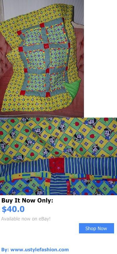 Quilts And Coverlets: Handmade Pinocchio Green Yellow Blue Baby Quilt Cotton Blend Blanket Unique New BUY IT NOW ONLY: $40.0 #ustylefashionQuiltsAndCoverlets OR #ustylefashion