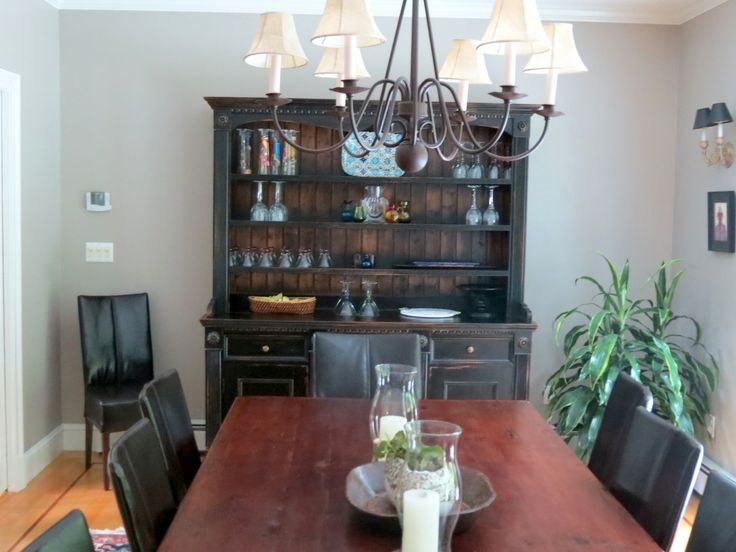 Custom Farm Table In Dining Room And Rustic Hutch Made From Reclaimed Wood