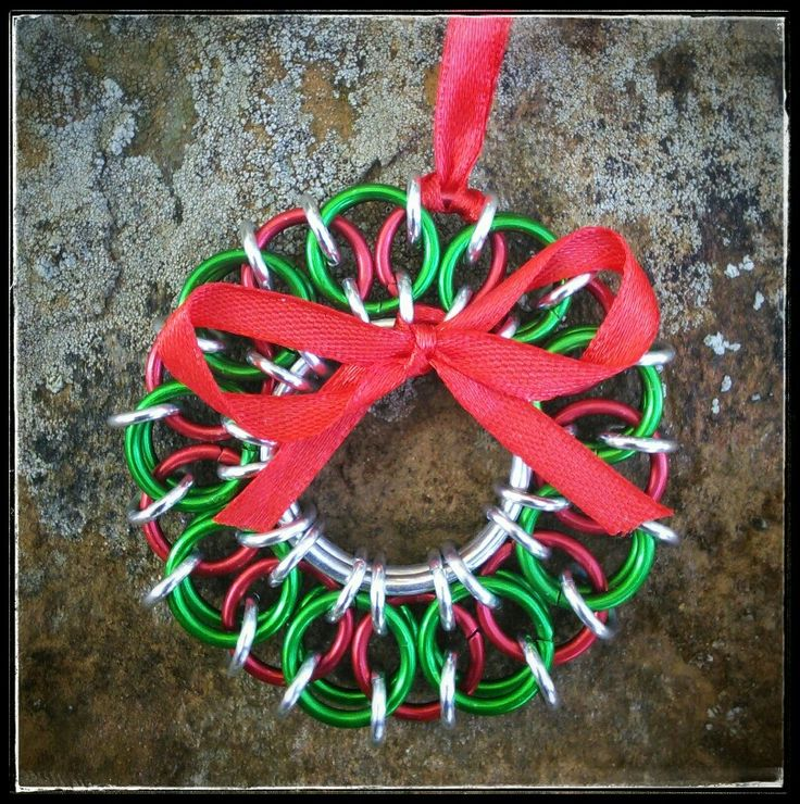 Chainmaille Christmas wreath #Chainmaille #handmade #handcrafted #Christmas #merrychristmas #decorations