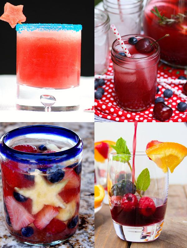 40 Festive! Red + White + Blue Cocktail Recipes | FamilyFreshCooking.com #july4th