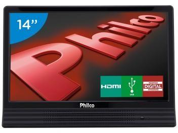 """TV LED 14"""" Philco PH14E10D - Conversor Integrado 1 HDMI 1 USB De R$ 699,00 por R$ 549,00"""