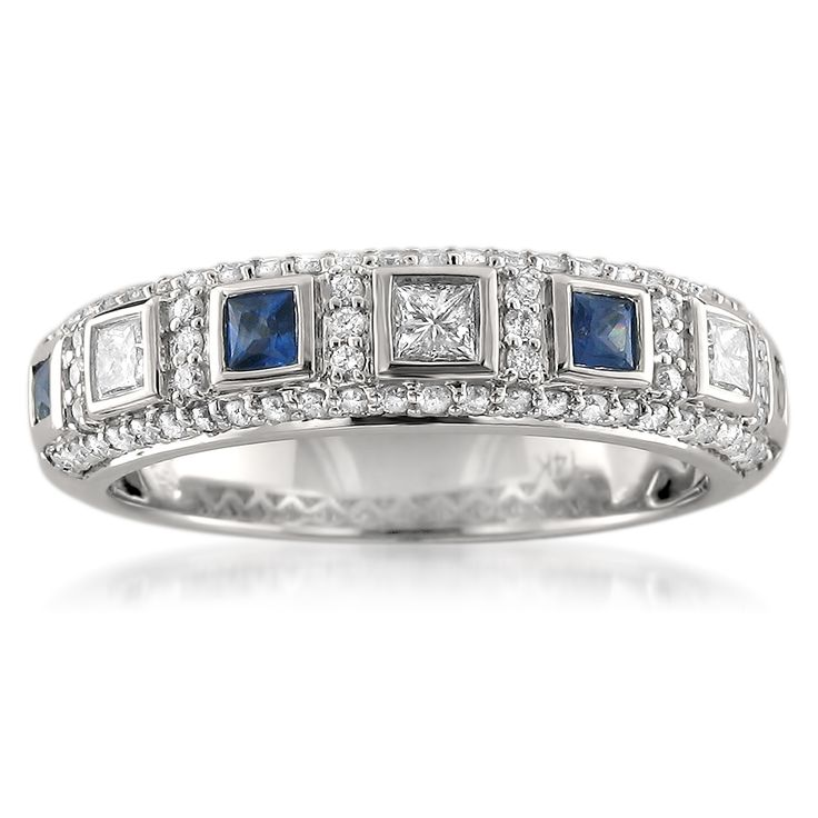 14k White Gold Blue Sapphire and 1/2ct TDW White Diamond Wedding Band (H-I, I1) | Overstock™ Shopping - Big Discounts on Women's Wedding Bands