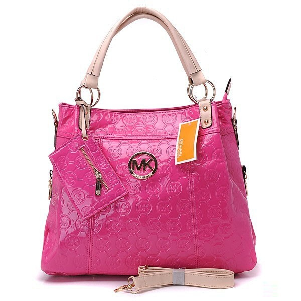 2012 Michael Kors Classic Tote Silve Pink Handbags Outlet