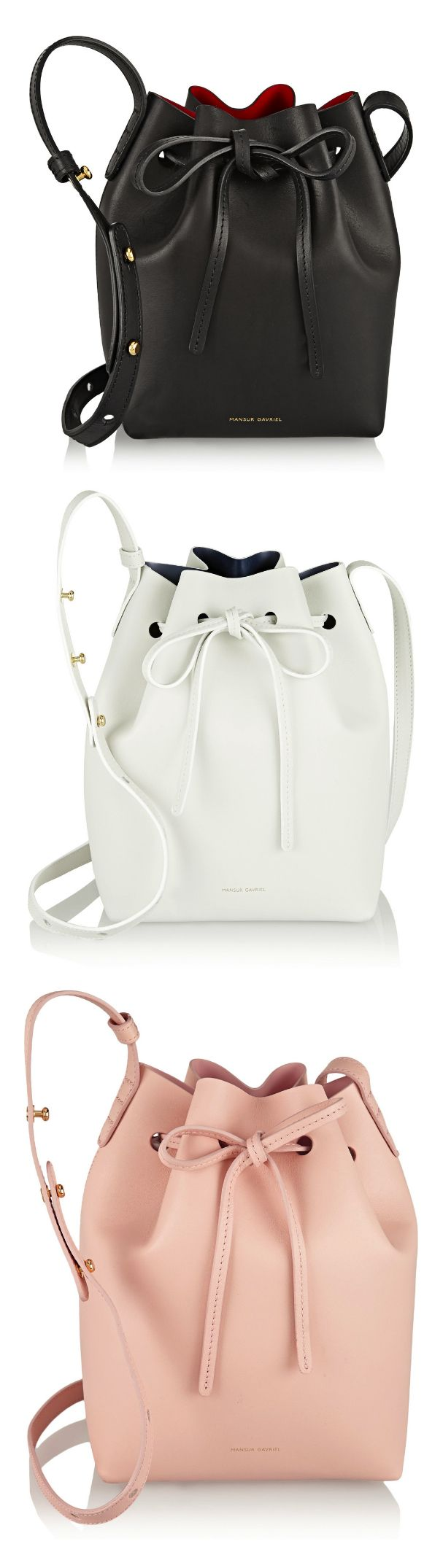 Mansur Gavriel Bucket Bag in large or mini. Really love the Rosa calf coated, Camello calf coated, and Creme canvas $485-$695