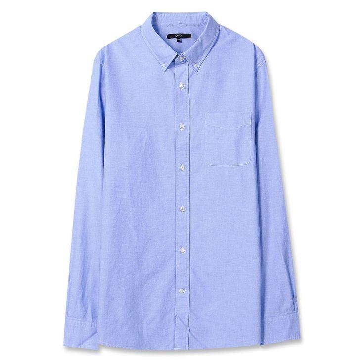 Topten10 Unisex Modern Blue Solid Formal Oxford Buttondown Cotton Dress Shirts #Topten10