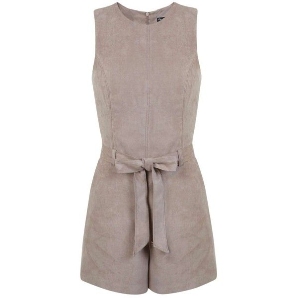 Miss Selfridge Suedette Belted Playsuit ($35) ❤ liked on Polyvore featuring jumpsuits, rompers, mink, brown romper, playsuit romper and miss selfridge