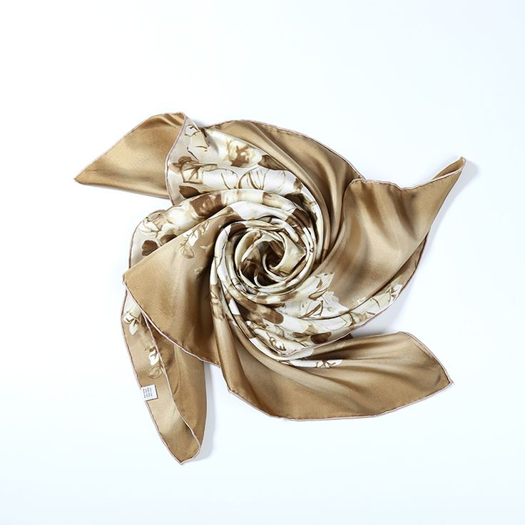 Large Square Silk Twill Scarf Beige Theme Flower Print XWC683