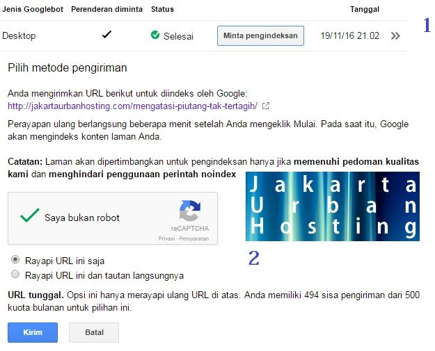 cara SEO dengan mengirimkan halaman website pada google indeks
