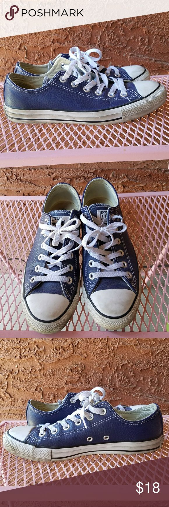"""Faux Leather Low-top Converse Navy blue faux leather converse are in good used condition. Lightly worn. No major flaws, just some wear and dirt from normal wear. Can be easily cleaned if you don't like the """"broke in"""" look. Women's size 8, men's size 6. Converse Shoes Sneakers"""
