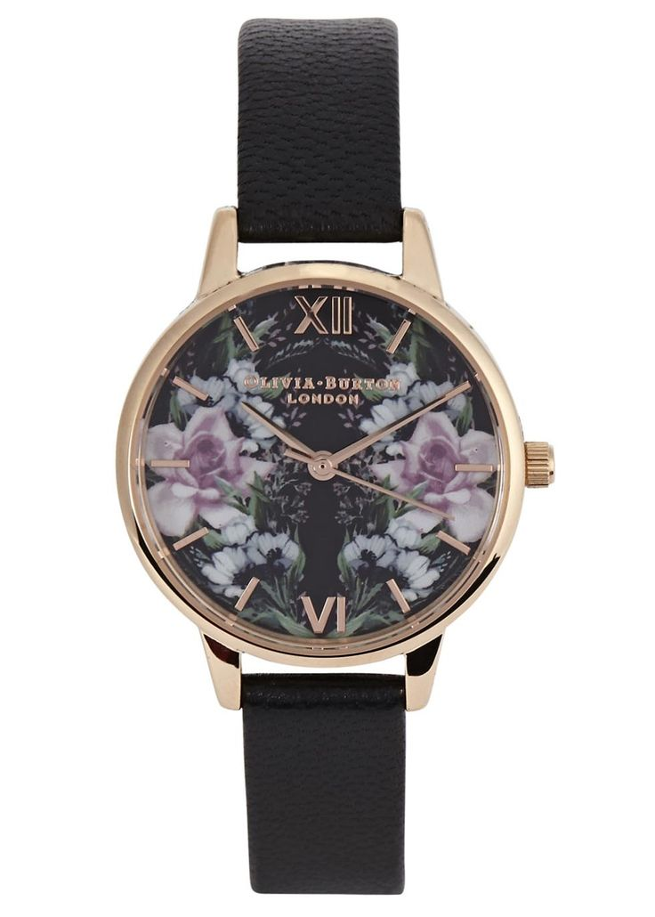 Olivia Burton rose gold-plated watch Floral-print designer-stamped face, three hand Japanese quartz movement Buckle-fastening black leather strap Presented in a designer-stamped box