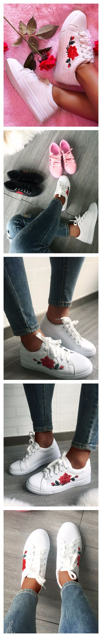 Fashion Lace-up Floral Applique Sneakers €21 Description color:Black/Pink/White pattern:Patchwork material:Rubber+PU style:Fashion  P.S ALL THE SIZE ARE FOLLOWED BY ASIAN STANDARD  Package Include: 1*Woman Shoes Note: There might be 2-3% difference according to manual measurement. Please check the measurement chart carefully before you buy the item.  +Please note that slight color difference should be acceptable due to the light and screen.