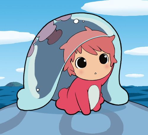 Ponyo on the cliff by the sea my favorite movie in chibi mode!!!
