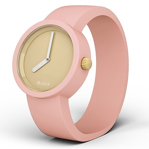 O clock watch – Dove face with Powder Pink strap