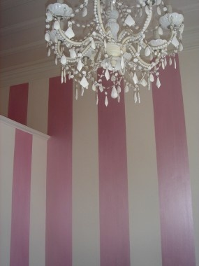 Close up of vertical handpainted stripes; Duchess Satin (pearlised acrylic paint in soft pink)