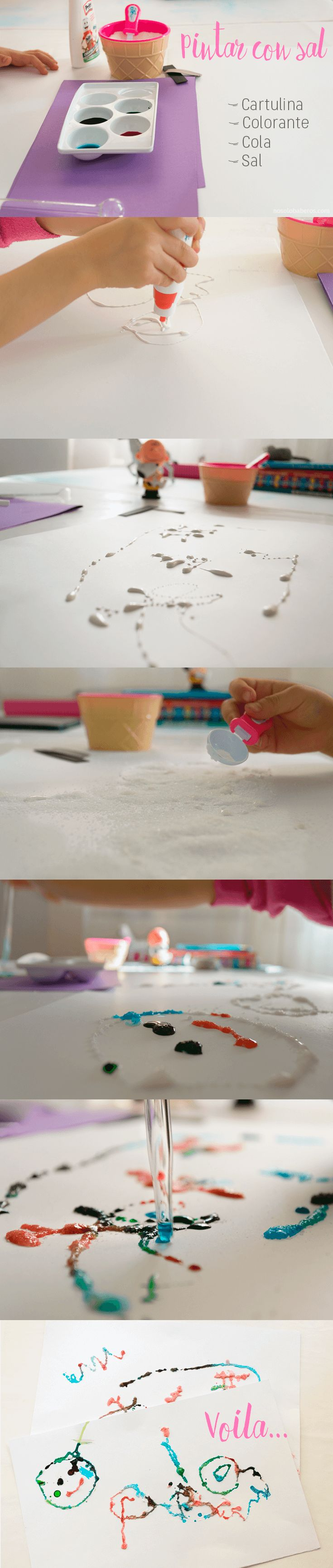 Pintar con sal, actividad fácil y divertida para pasar un buen rato con nuestros hijos. #ManualidadesInfantiles #PintarConSal #ManualidadesInfantilesFaciles #ManualidadesInfantilesConNiños #Creatividad #DesarrolloMotorFino #PintamosConSal #nosolobaberos