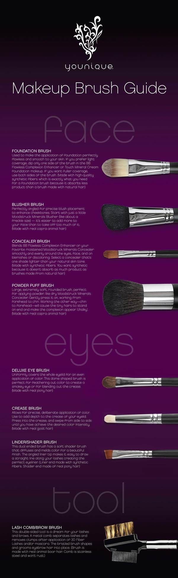 LOVE THIS! Ever wonder what all those different makeup brushes are for? Great explanation and Makeup tips! hypoallergenic, cruelty free, free of harmful chemicals, gluten free, carcinogen free, paraben free, no fillers, makeup, primer, BB Creams, Foundation, Blush, Lip Gloss, 3D Fiber Lash Mascara, Mineral Pigments, Rose Water, Face Wash, Moisturizing Gel, Makeup Brushes, great gifts! $12 and up www.lashesbysuzie.com