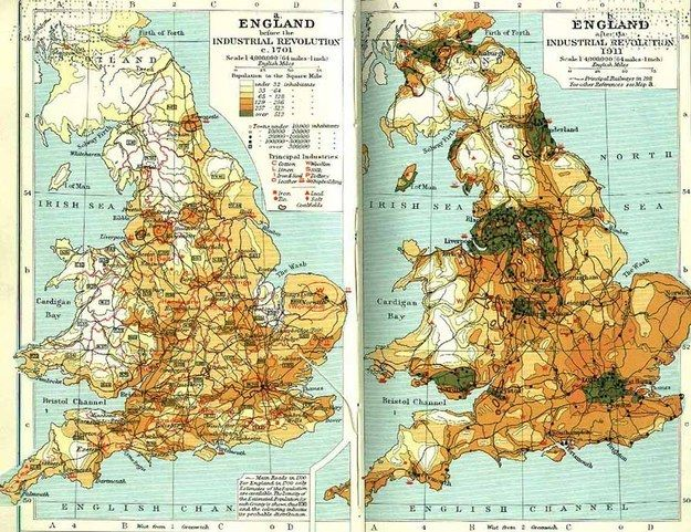 The population density of Britain, before and after the Industrial Revolution.