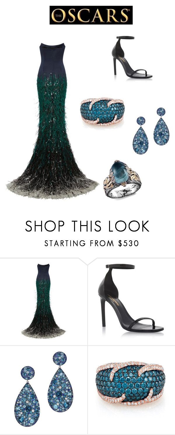 """oscars"" by aniko-juhaszova ❤ liked on Polyvore featuring Elizabeth Kennedy, Yves Saint Laurent, Effy Jewelry, Emma Chapman, Oscars, teal and gown"