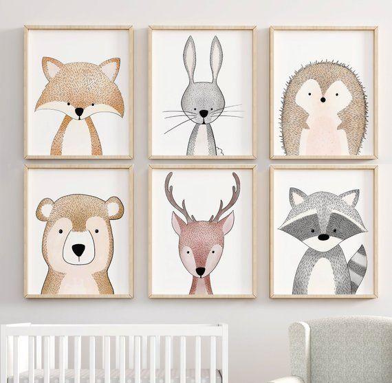 Woodland Nursery Art Prints, Woodland Nursery Decor, Nursery Prints, Nursery Wall Art, Forest Animal Prints, Nursery, Woodland Nursery
