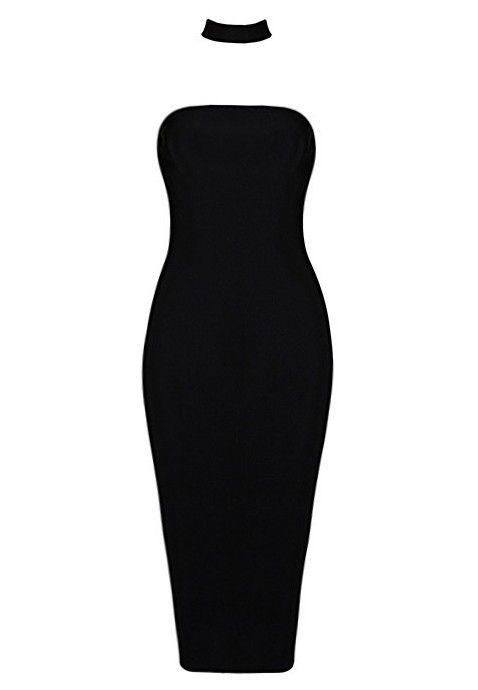 Offrez-vous un look de rêve avec cette magnifique robe bandage noire. Impossible de louper votre tenue avec cette robe tube et son petit col attaché qui habille votre cou d'un collier noir super élégant. En plus, sa coupe moulante travaillée vous donne un style canon qui se porte en toute occasion. Robe de soirée ou même robe de mariage, vous pouvez porter cette ravissante robe tube noire en toute occasion.