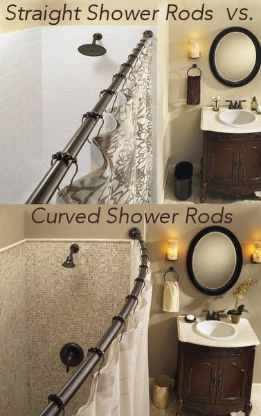 the difference between a straight shower rod and a curved shower rod... Expand Small Shower & Bathroom Space Easily with 1 Simple Upgrade: Rotator Rod, the curved shower rod that flips!