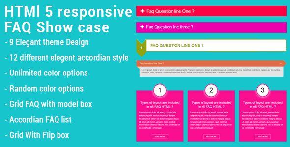 HTML5 Responsive FAQ Showcase - Price $5