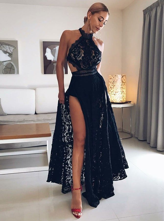 a6b4d489873 Sexy Black Lace Halter Front Split Floor-length Sleeveless Evening  Dress Evening Dresses Special Occasion Dresses Fashion Special Occasion  Dresses   Wedding ...