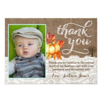 Baptism Christening Thank you Card Pumpkins Cross Card - thank you gifts ideas diy thankyou