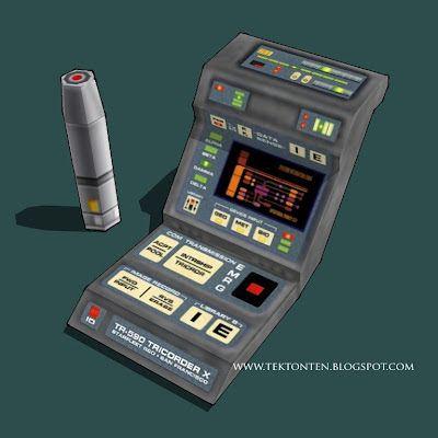 Tektonten Papercraft: Star Trek Voyager Medical Tricorder Papercraft - V...