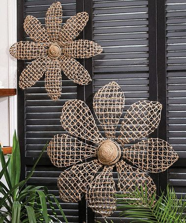Metal Flower Wall Decor Set. Would look really cute on an outdoor wall or in a garden.  #zulilyfinds