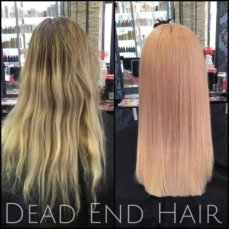 Transformed Mel's balayage into a pretty peach passion blonde!! #idhair @idhairau #peachhair #colourbomb #lightmalt #strongpaprika @niophlexofficial #Niophlex