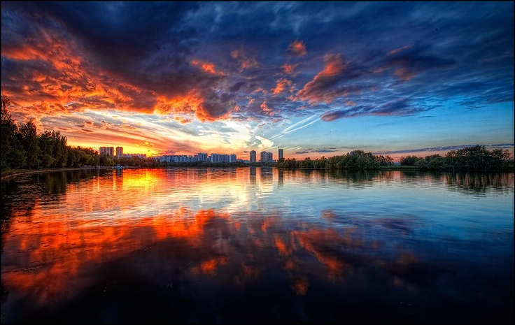 Sunset in Silver Pinewood, Moscow, Russia