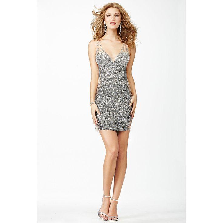 Luxury Rhinestones Prom Dresses 2016 Beaded Silver Sequins Sheer V Neckline Backless Short Party Cocktail Dresses Custom Made