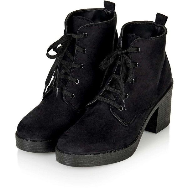TOPSHOP BEST Beaumont Lace-Up Boots ($65) ❤ liked on Polyvore featuring shoes, boots, ankle booties, lacing boots, bootie boots, laced up booties, laced up boots and lace up booties