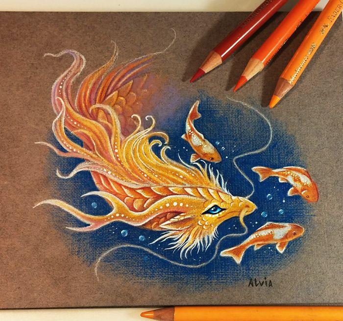 golden dragon color pencil drawing by alvia alcedo