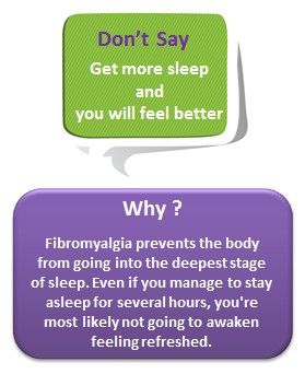 "What not to say to person with FIBROMYALGIA!!.....+ "" If you would *ONLY*....exercise more, get out more, DO more, think positive, get off of your PAIN MEDS....ETC"" Yea, walk a DAY in MY shoes and maybe you'd change your mind regarding you NOT so helpful comments."