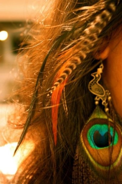 feathers and awesome peacock earrings