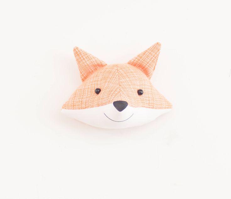 Faux taxidermy fox head orange and white fabric wall decor animal head stuffed wall decor by AtelierCaroline on Etsy https://www.etsy.com/listing/531704705/faux-taxidermy-fox-head-orange-and-white