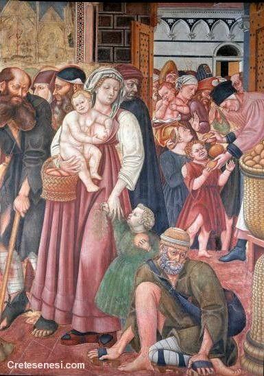 Domenico di Bartolo - Distribuzione delle elemosine, dettaglio - 1441 - Siena, Santa Maria della Scala – Sala del Pellegrinaio