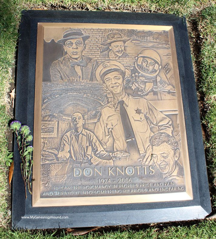 """Don Knotts, """"Barney Fife"""" grave and tombstone, Westwood Village Memorial Park Cemetery, Los Angeles"""